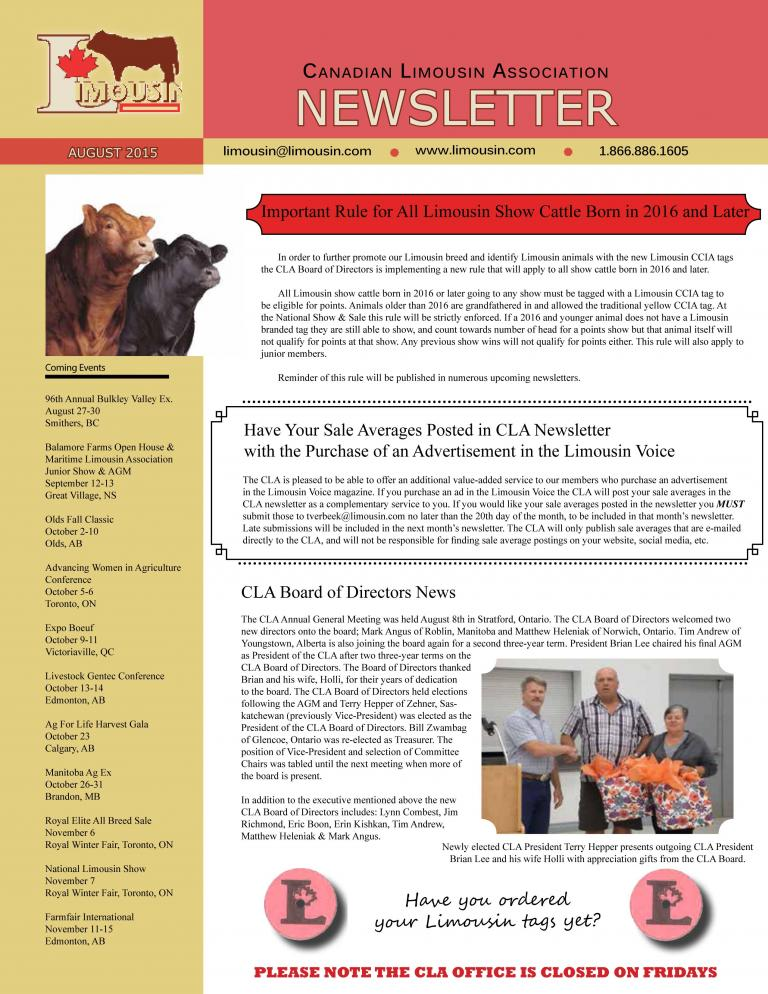 CLA August 2015 Newsletter