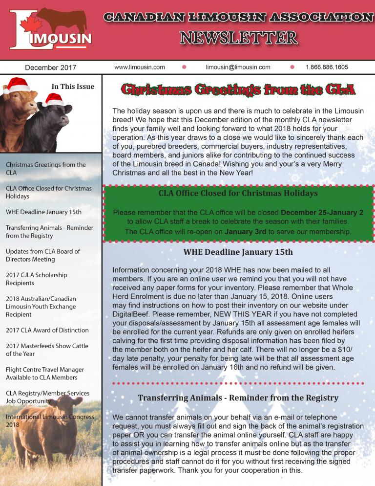 CLA December 2017 Newsletter