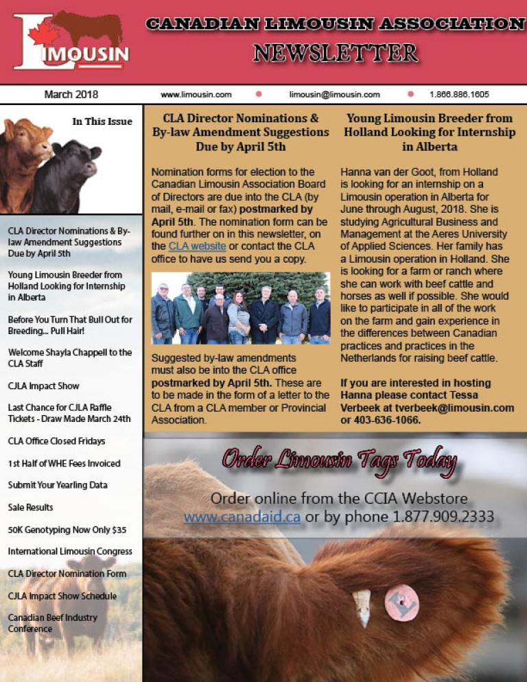 CLA March 2018 Newsletter