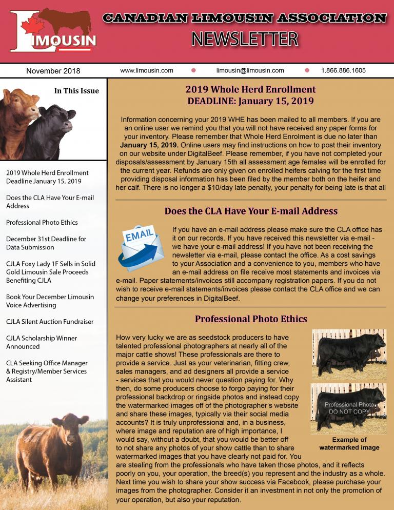CLA November 2018 Newsletter
