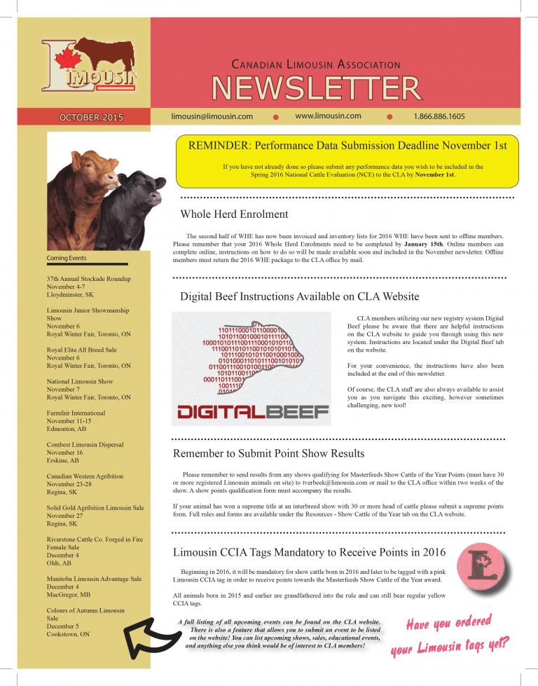 CLA October 2015 Newsletter